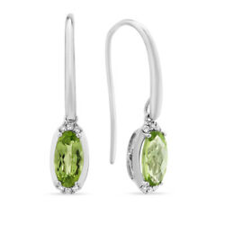 3.15 Carat Coupe Ovale Naturel Peridot Boucles 14k Blanc Solide Or Femmes Hoops