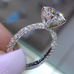 Rond 1.70 Ct Beau Real Diamond Engagement Ring 14k Or Blanc Taille L M N O