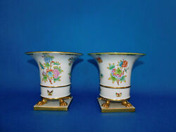 Herend Queen Victoria Vbo Round Mouthed Vase Pair Porcelain