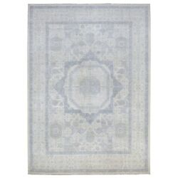 10and039x12and039 Ivory White Wash Peshawar Natural Wool Hand Knotted Oriental Rug G56747