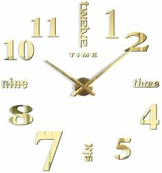 Gold Wall Clocks 3D DIY Wall Clock Decor Sticker Mirror Frameless Large DIY
