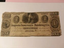 Bank Of Augusta Georgia Insurance Banking One Dollar Banknote Confederate