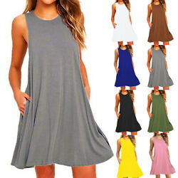 Women Loose Tank Dress Sleeveless Short Dress Solid Casual A line Beach Sundress $11.27