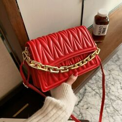 Thick Chain Pleated Handbags 2021 Ladies Shoulder Bags Leather Crossbody Bag $23.99