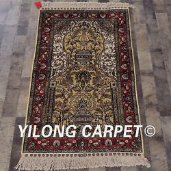 Yilong 2.5and039x4and039 Handmade Golden Silk Area Rug Antique Living Room Carpet L137a