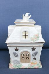 Lenox Occasions Haunted House Covered Candy Dish Halloween Ghost 8' High Euc