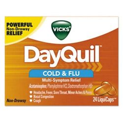 Vicks Non-drowsy Dayquil Cold And Flu Liquicaps 24 Box/carton Pgc01443