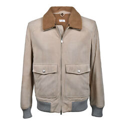 Brunello Cucinelli Menand039s 100 Suede Leather Bomber W/ Fur Lined Interior