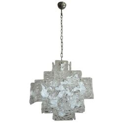 1960s Tronchi Murano Glass Chandelier W/ Textured Square Slabs In Cube-shape