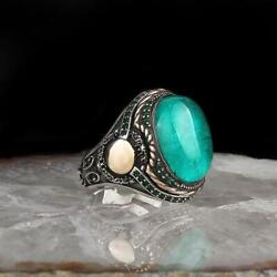 Green Verdelite Tourmaline Mens Ring Solid 925 Sterling Silver Cubic Zirconia
