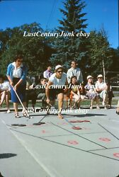 Amateur 35mm Slide People Playing Shuffle Board Game In Park