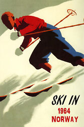 Ski In Norway 1964 Alpine Downhill Skiing Sport Vintage Poster Repro Free S/h