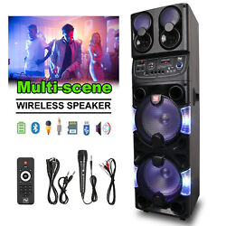 Dual 10bt Portable Party Bluetooth Speaker Rechargeable W/remote Control Andwheel