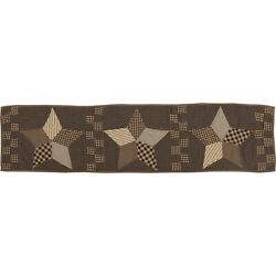 New Primitive Country Farmhouse Black Star Quilt Patchwork Table Runner 48