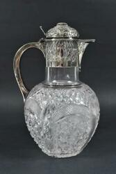 Antique Silver Plate And Cut Glass Pitcher Claret Carafe