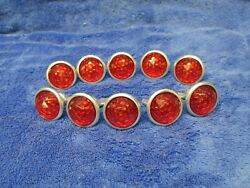 500 Vintage Red Reflectors 1 Round Jewel Domed Style Car Trucks Bikes Nos