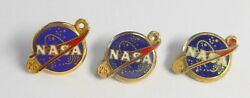 3 Vintage Nasa Space Center 10k Yellow Gold And Enamel Year Pins 25 Year