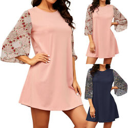 US Women Summer Solid Color Floral Print Loose Chiffon Sleeve Casual Mini Dress $19.09