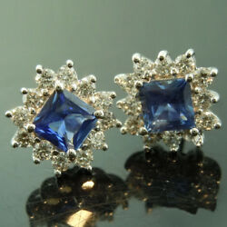 1.72 Ct Natural Blue Sapphire Gemstone Stud Solid 14k White Gold Diamond Earring