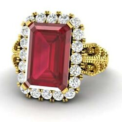 3.10 Ct Natural Diamond Ruby Gemstone Ring Solid 18k Yellow Gold Band Size M N O