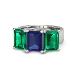 3.00 Ct Real Blue Sapphire Green Emerald Gemstone Ring Solid 950 Platinum Band 7