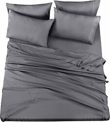 6 Piece Bed Sheet Set With Embroidered Pillow Cases King amp; Queen Utopia Bedding