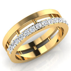 0.39 Ct Genuine Diamond Wedding Rings 14k Solid Yellow Gold Mens Band Size 8.5 9