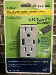 15 Amp Decora Type A And C Usb Charger Tamper-resistant Outlet White