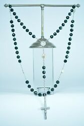 Art Nouveau French Antique Rosary Natural Jasper Bloodstone And Sterling Silver