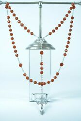 19thc Rare French Antique Rosary Faceted Carnelian And Sterling Silver