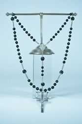 19thc French Antique Rosary Natural Jasper Bloodstone And Sterling Silver 1881