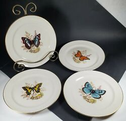 Set Of 4 Pickard China Butterfly And Wildflowers Gold Trimming Dessert Plates