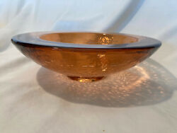 """Fire And Light Art Glass Wide Lipped 10 3/4"""" Bowl - Copper"""