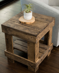 Rustic Farmhouse End Table Side Sofa Nightstand Solid Wood Brown Distressed New