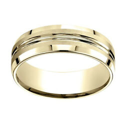 18k Yellow Gold 7.00 Mm Comfort-fit Menand039s Anniversary And Wedding Band Ring Sz-13