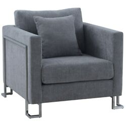 Heritage Gray Fabric Upholstered Accent Chair With Brushed Stainless Steel Legs