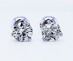 2.00ctw Round Brilliant Diamond Studs Earrings Color J Clarity I1 Watch Video