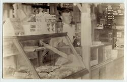 General Store Grocer Behind Counter C.1910 Real Photo Postcard Rppc Old