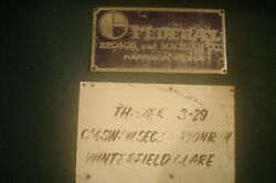 2 Vintage Metal Signs Clare County Michigan Mi Oil + Gas And Broach + Machine