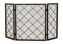 Contemporary Iron And Brass Tri-fold Fire Screen