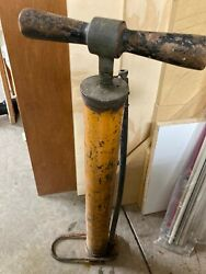 Vintage Bicycle Hand Tire Air Pump- Made In Usa-wood Handle-antique