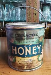 Antique Early Paper Label Honey Advertising Tin Can Pail R L Crimbring Canton Pa
