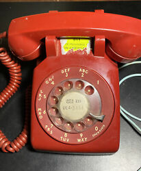 Vintage Bell Systems Rotary Desk Phone Red Western Electric Throwback