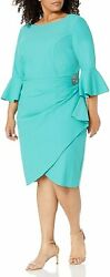 Alex Evenings Womenand039s Plus-size Short Slimming Sheath Dress With Bell Sleeves