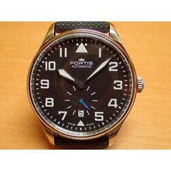 Fortis Pilot Classic Second 901.20.41lp Automatic Black Silver Leather Menand039s 037