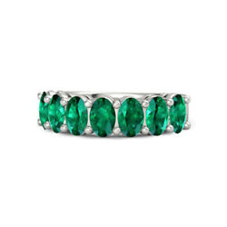 Oval 1.75 Ct Natural Green Emerald Gemstone Solid 950 Platinum Ring Size 7 8 9