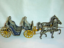 Vintage Cast Metal Stanley Toys Horse Drawn Carriage Surrey 2 Riders Floor Toy