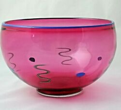 Studio Art Glass Bowl By A. Garcia Reddish Pink With Blue And Green Accents