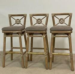 Three Mcguire Target Back Bar Stools Bamboo Brass Foot Rest