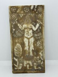 Sassanian Alabaster Carved Relief Panel Winged Figure Rare